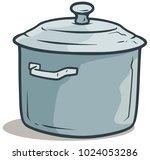 cartoon metal gray cooking pot...   Shutterstock .eps vector #1024053286