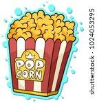 cartoon popcorn in paper bucket ... | Shutterstock .eps vector #1024053295