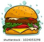 cartoon tasty big hamburger... | Shutterstock .eps vector #1024053298