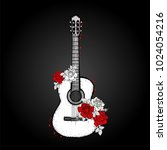 acoustic guitar and roses....   Shutterstock .eps vector #1024054216