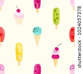 seamless pattern with colorful... | Shutterstock .eps vector #1024057378