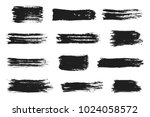 ink brush strokes set. acrylic... | Shutterstock .eps vector #1024058572