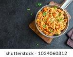 spaghetti pasta in tomato sauce ...   Shutterstock . vector #1024060312