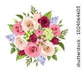 vector bouquet of pink  white ... | Shutterstock .eps vector #1024064605