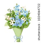 vector bouquet of blue and...   Shutterstock .eps vector #1024064722