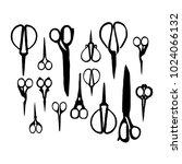 set scissors silhouette... | Shutterstock .eps vector #1024066132