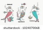cat mermaid set illustration | Shutterstock .eps vector #1024070068