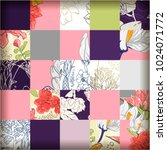 tile pattern with flowers and... | Shutterstock .eps vector #1024071772