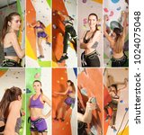 collage with people in climbing ... | Shutterstock . vector #1024075048