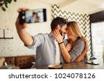 young fashion lover couple at... | Shutterstock . vector #1024078126
