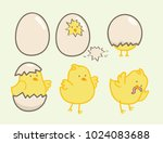 cute chick hatching egg vector | Shutterstock .eps vector #1024083688