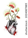 hungry black   white heart with ... | Shutterstock . vector #1024087885