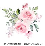 decorative watercolor flowers.... | Shutterstock . vector #1024091212