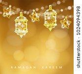 islamic greeting card. garlands ... | Shutterstock .eps vector #1024094398