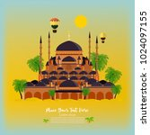 mosque with the palms. can be... | Shutterstock .eps vector #1024097155