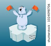 bear sailor on an ice floe with ... | Shutterstock .eps vector #1024098706