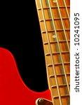 vintage bass guitar close-up on black - stock photo