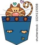 cute cat in the pocket    Shutterstock .eps vector #1024115008