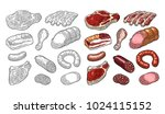 set meat products. brisket ... | Shutterstock .eps vector #1024115152