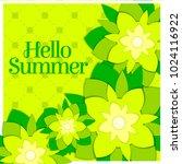 hello summer poster with paper... | Shutterstock .eps vector #1024116922
