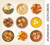 different dishes from south... | Shutterstock .eps vector #1024118656
