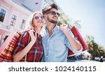 shopping. beautiful young... | Shutterstock . vector #1024140115