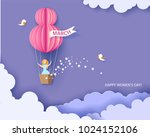 Stock vector card for march womens day woman in basket of hot air balloon abstract background with text and 1024152106