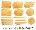 big set of watercolor golden... | Shutterstock . vector #1024154425
