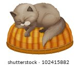 Stock vector illustration of kitten sleeping on basket 102415882