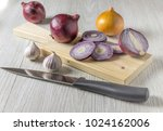 sliced red onion and garlic