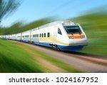 white high speed railway train...   Shutterstock . vector #1024167952