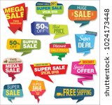 modern origami sale stickers... | Shutterstock . vector #1024173448