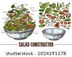 vector set of sketch elements ... | Shutterstock .eps vector #1024191178