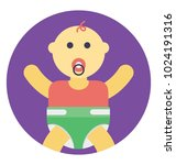 cute baby boy sitting with... | Shutterstock .eps vector #1024191316