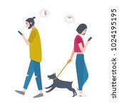 young woman walking dog on... | Shutterstock .eps vector #1024195195