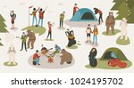 set of tourists or backpackers... | Shutterstock .eps vector #1024195702