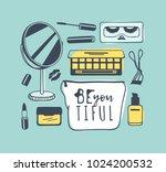 hand drawn illustration beauty... | Shutterstock .eps vector #1024200532