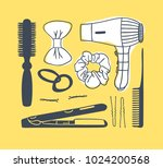 hand drawn illustration hair... | Shutterstock .eps vector #1024200568