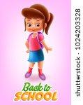 girl going to school... | Shutterstock .eps vector #1024203328