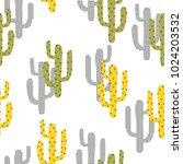 seamless cartoon cactus pattern.... | Shutterstock .eps vector #1024203532