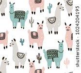 seamless pattern with alpaca  ... | Shutterstock .eps vector #1024204195