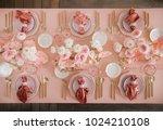 festive table decor. in pastel...   Shutterstock . vector #1024210108