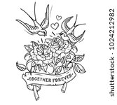 tattoo two red roses with... | Shutterstock .eps vector #1024212982