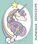 cute magic unicorn head with...   Shutterstock .eps vector #1024213195