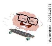 funny cartoon brain on...   Shutterstock .eps vector #1024213576