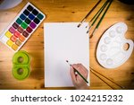 blank page on the table with... | Shutterstock . vector #1024215232