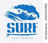 surfing california t shirt... | Shutterstock .eps vector #1024215385