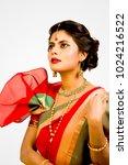 beautiful indian female model... | Shutterstock . vector #1024216522