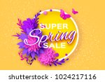 Stock vector origami violet super spring sale flowers banner butterfly paper cut floral card spring blossom 1024217116
