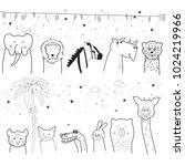 animal cartoon set isolated on... | Shutterstock .eps vector #1024219966